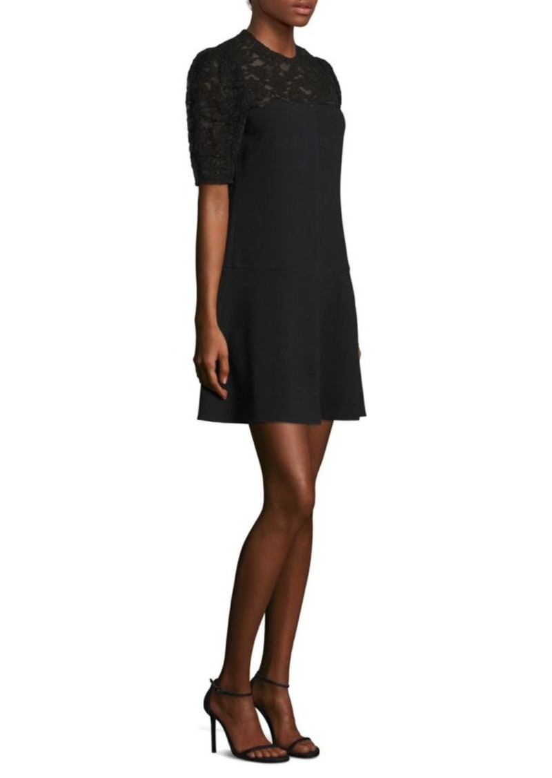 Rebecca Taylor Lace Puff Sleeve Flare Dress