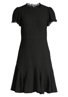 Rebecca Taylor Lace-Trim Sleeveless Tweed A-Line Dress