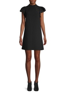 Rebecca Taylor Lace-Trimmed A-Line Dress