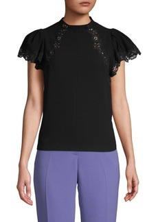 Rebecca Taylor Lace-Trimmed Cap-Sleeve Top