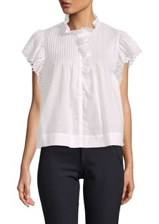 Rebecca Taylor Lace-Trimmed Cotton Blouse