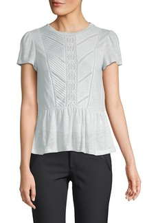 Rebecca Taylor Lace-Trimmed Linen Top