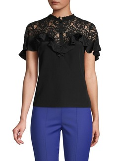 Rebecca Taylor Lace-Trimmed Silk-Blend Top