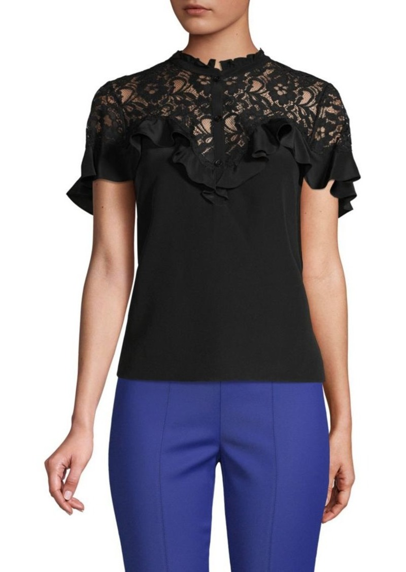 f3ac21e0dc2 On Sale today! Rebecca Taylor Lace-Trimmed Silk-Blend Top