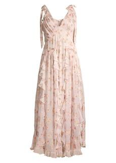 Rebecca Taylor Leander Ruffled Sleeveless Floral Dress