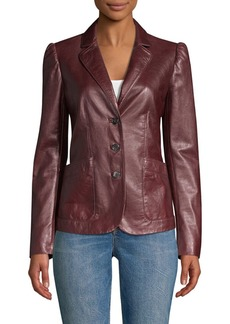 Rebecca Taylor Leather Notch Lapel Blazer