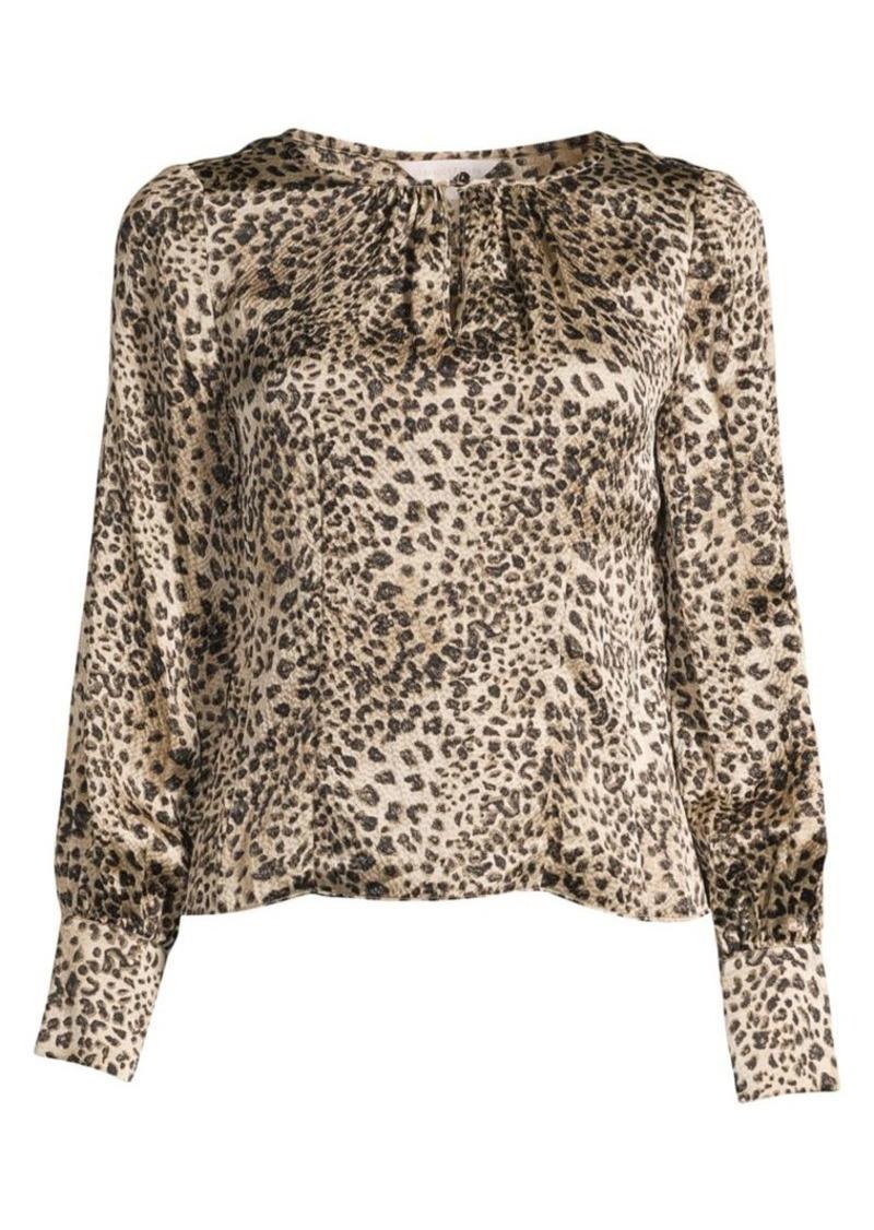 Rebecca Taylor Leopard-Print Silk Blouse