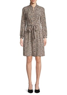 Rebecca Taylor Leopard-Print Silk Button-Front Dress