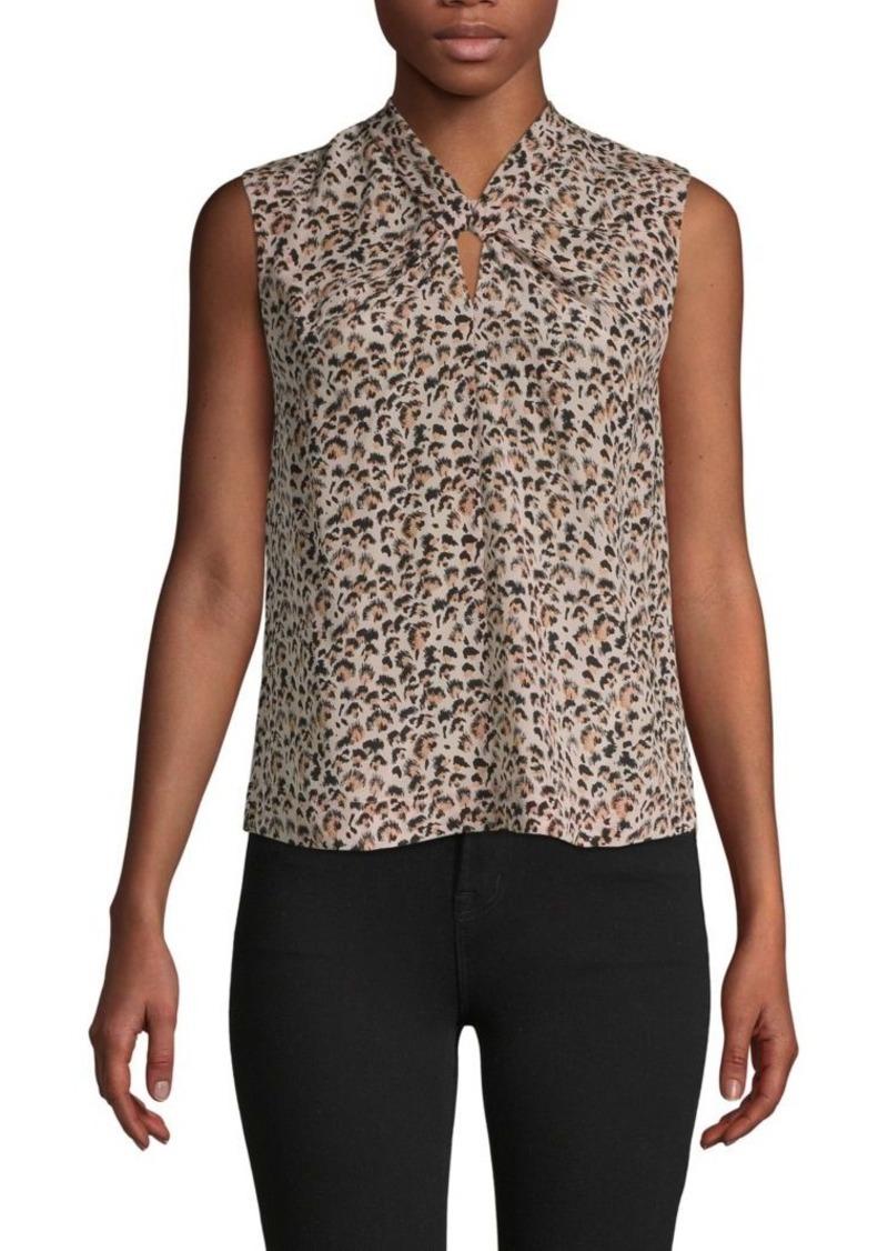 Rebecca Taylor Leopard-Print Silk Sleeveless Top