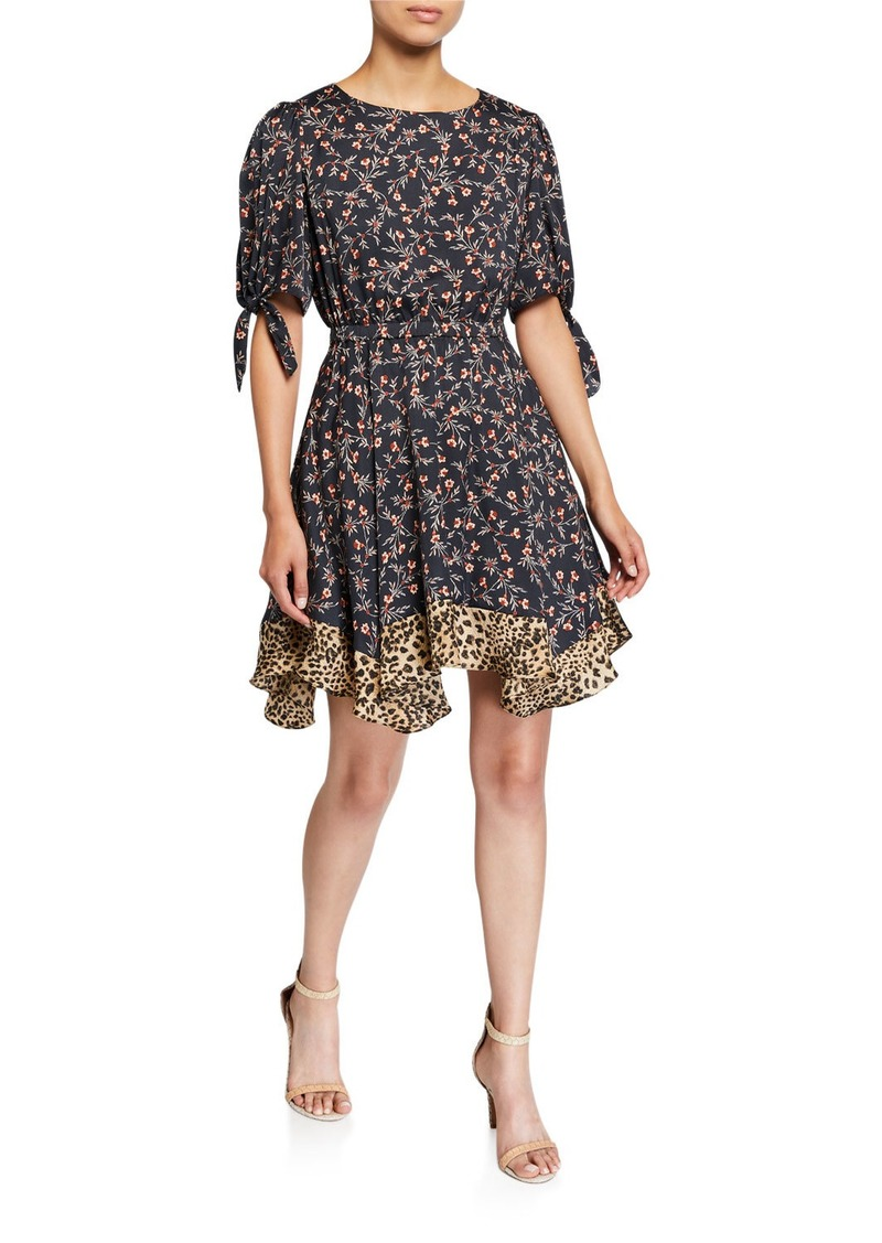Rebecca Taylor Lia Floral Short-Sleeve Dress