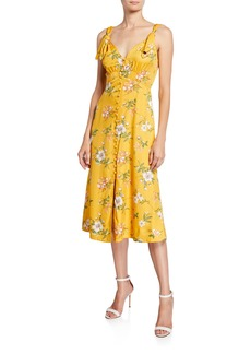 Rebecca Taylor Lita Button-Front Tie Dress