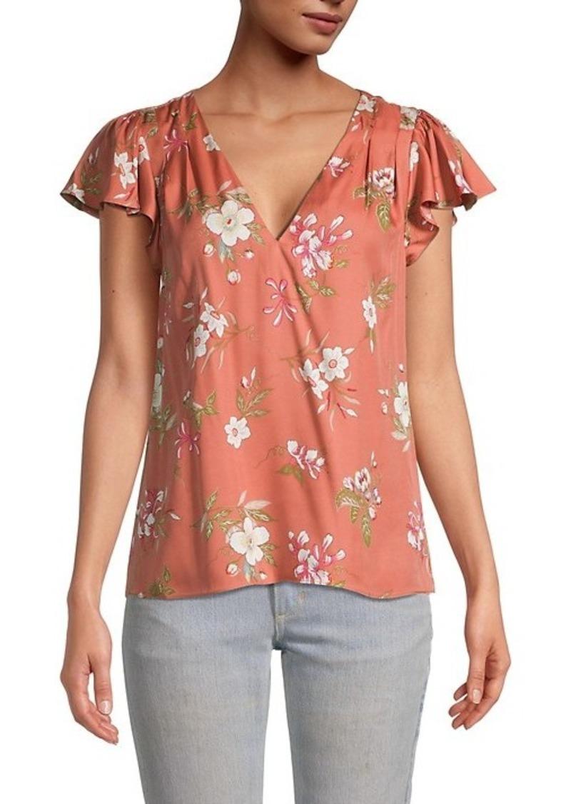 Rebecca Taylor Lita Floral Cap-Sleeve Top