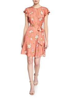 Rebecca Taylor Lita Floral Flutter-Sleeve Keyhole Dress