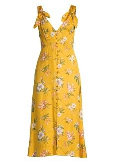 Rebecca Taylor Lita Floral Tie Strap Midi Dress