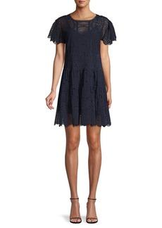 Rebecca Taylor Livy Cotton & Silk Eyelet Dress