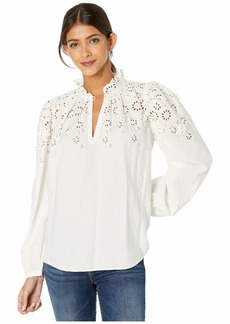 Rebecca Taylor Long Sleeve 3-D Eyelet Top
