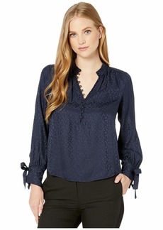 Rebecca Taylor Long Sleeve Cheetah Jacquard Top