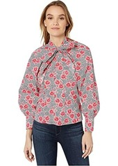 Rebecca Taylor Long Sleeve Coral Tie Top