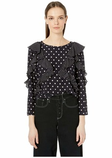 Rebecca Taylor Long Sleeve Dot Ruffle Top