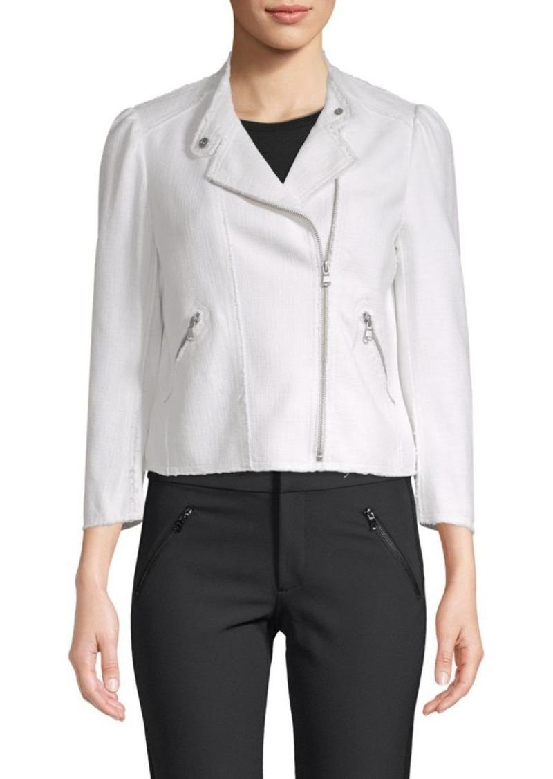 Rebecca Taylor Long-Sleeve Frayed Jacket