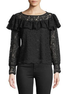 Rebecca Taylor Long-Sleeve Lace Ruffle Top