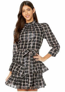 Rebecca Taylor Long Sleeve Lame Plaid Dress