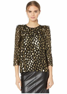 Rebecca Taylor Long Sleeve Leopard Metallic Top