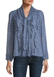 Rebecca Taylor Long-Sleeve Metallic Clip-Stitch Blouse