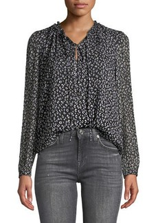 Rebecca Taylor Long-Sleeve Mini Cheetah-Print Silk Top