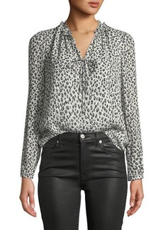 Rebecca Taylor Long-Sleeve Mini Cheetah-Print Silk Top
