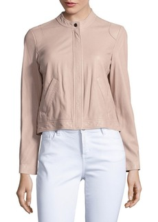 Rebecca Taylor Long-Sleeve Perforated Leather Jacket