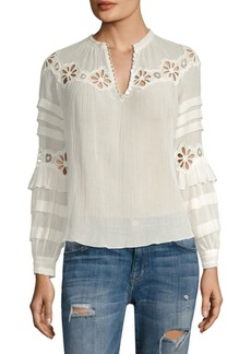Rebecca Taylor Long-Sleeve Pinwheel Chiffon Top