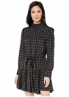 Rebecca Taylor Long Sleeve Plaid Ruffle Dress