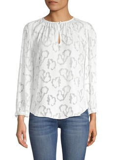 Rebecca Taylor Long-Sleeve Satin Top