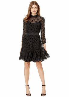 Rebecca Taylor Long Sleeve Velvet Dot Dress