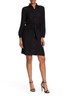 Rebecca Taylor Long Sleeve Waist Tie Silk Dress