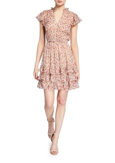 Rebecca Taylor Lucia Button-Front V-Neck Dress