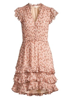 Rebecca Taylor Lucia Floral Ruffled Mini Dress