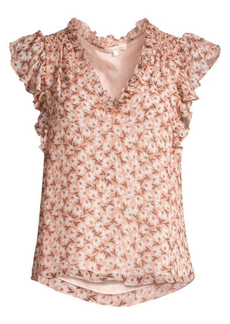 Rebecca Taylor Lucia Floral Short-Sleeve Stretch Silk V-Neck Top