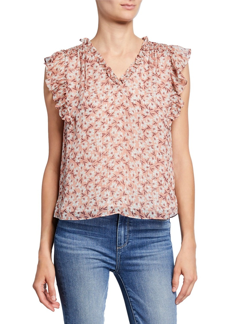 Rebecca Taylor Lucia Floral V-Neck Sleeveless Top
