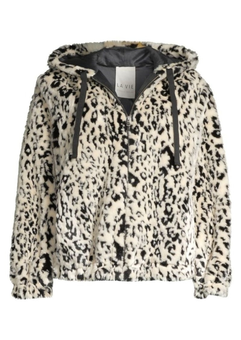 Rebecca Taylor Lynx Faux-Fur Hooded Bomber Jacket
