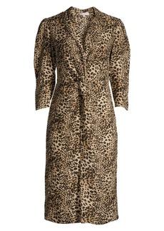 Rebecca Taylor Lynx-Print Short-Sleeve Ruffle Silk Dress