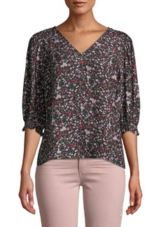 Rebecca Taylor Lyra 3/4-Sleeve Silk Floral Top