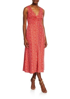 Rebecca Taylor Malia Printed Twist-Front Sleeveless Midi Dress