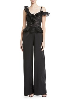 Rebecca Taylor Malorie Embroidered Lace Peplum Jumpsuit