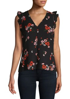 Rebecca Taylor Marguerite Floral-Print Sleeveless Top