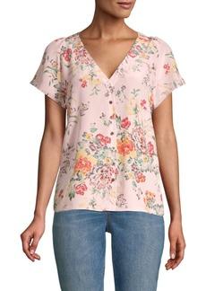 Rebecca Taylor Marlna Floral Silk Button-Up Top