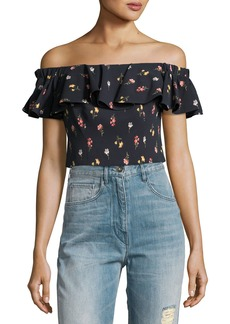 Meadow Off-the-Shoulder Floral-Print Top