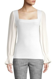 Rebecca Taylor Merino Wool & Silk Poet Sleeve Blouse