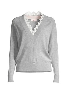 Rebecca Taylor Merino Wool Lace-Trim Sweater